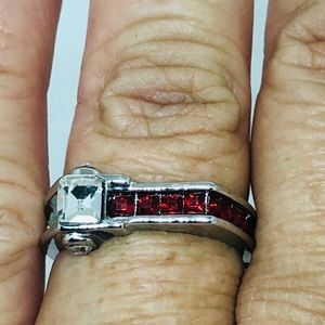 .925 Square Shaped Red/Clear CZ'S